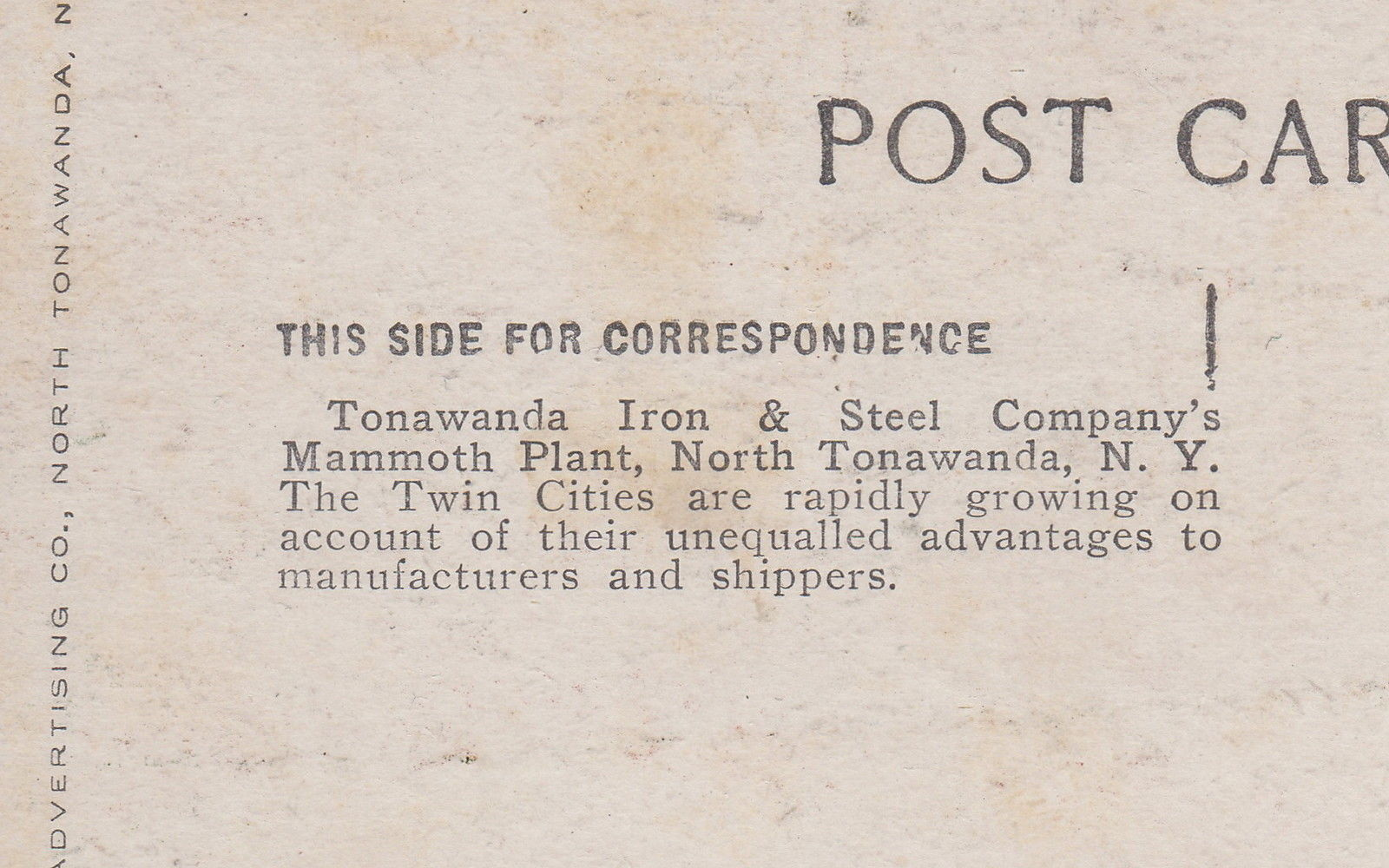 Tonawanda Iron and Steel, SS Jupiter, postcard back (c1910).jpg