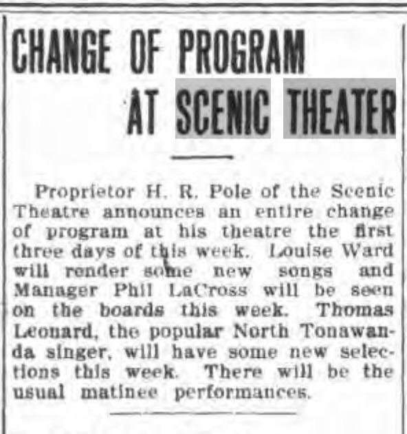 Change of program at Scenic Theater, article (Tonawanda News, 1910-05-09).jpg