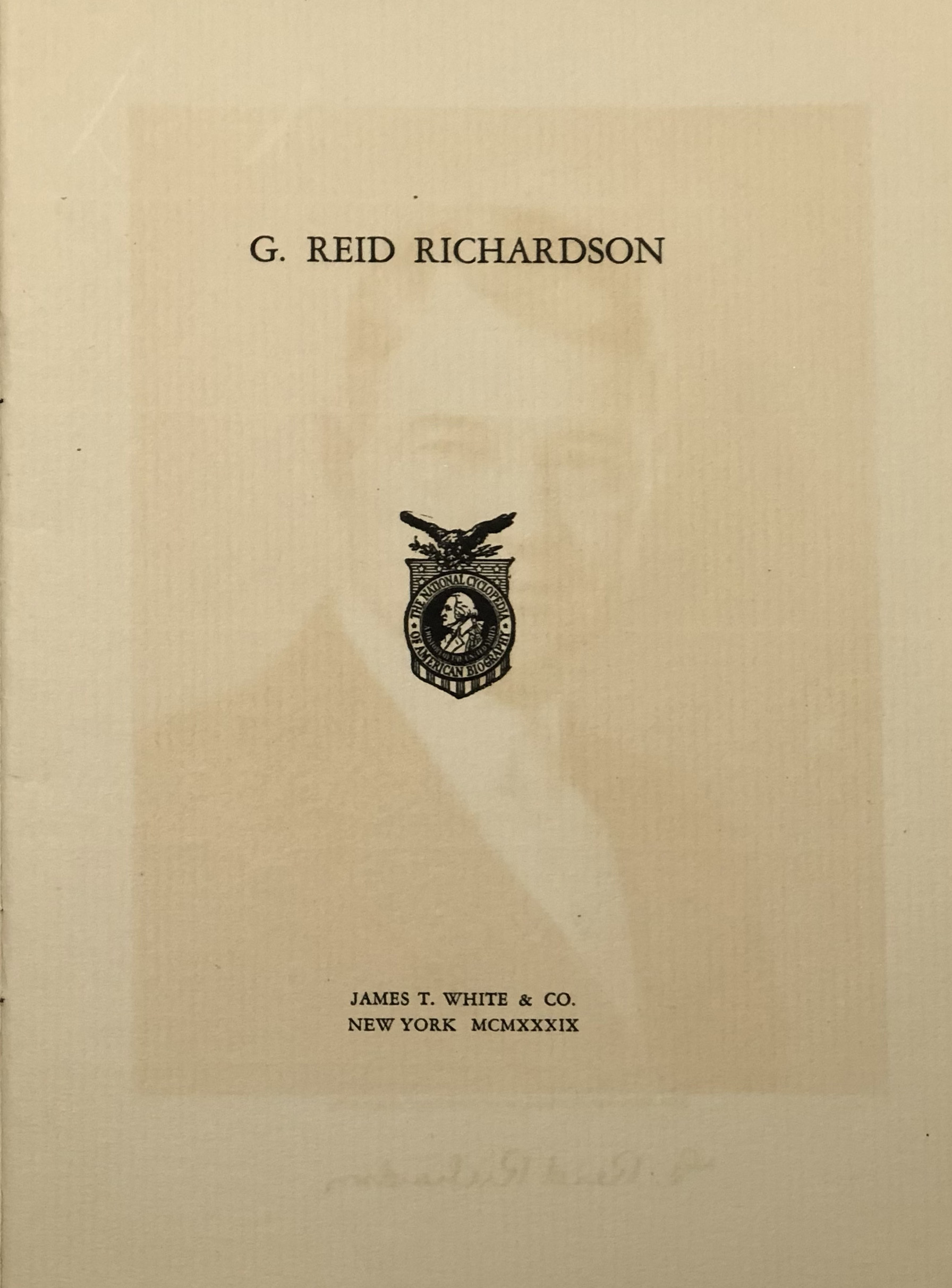 G Reid Richardson, biographical pamphlet, title page.jpg