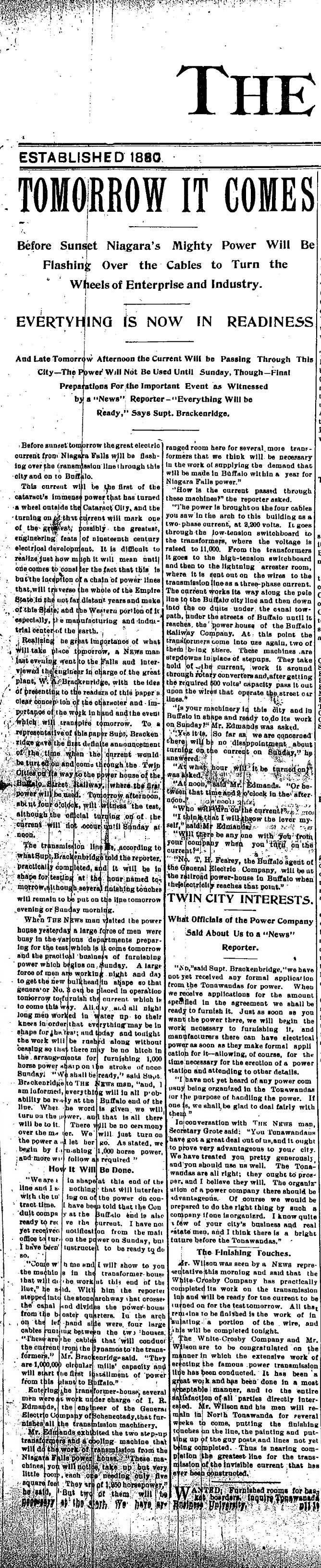 Tomorrow It Comes, electricity to be transmitted from Niagara Falls to Buffalo, article (Tonawanda News, 1896-11-13).jpg
