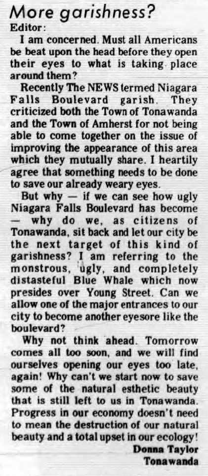 More Garishness? letter to editor criticizes Blue Whale Car Wash (Tonawanda Evening News, 1973-01-08).jpg