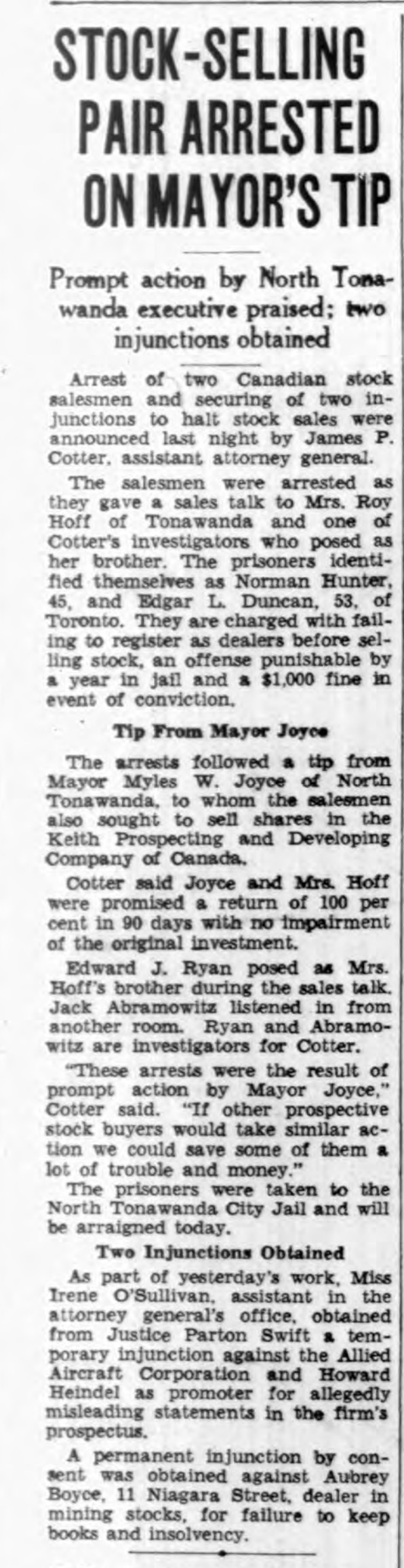 Stock-selling pair arrested on mayor's tip, article (Buffalo Courier-Express, 1939-03-01).jpg