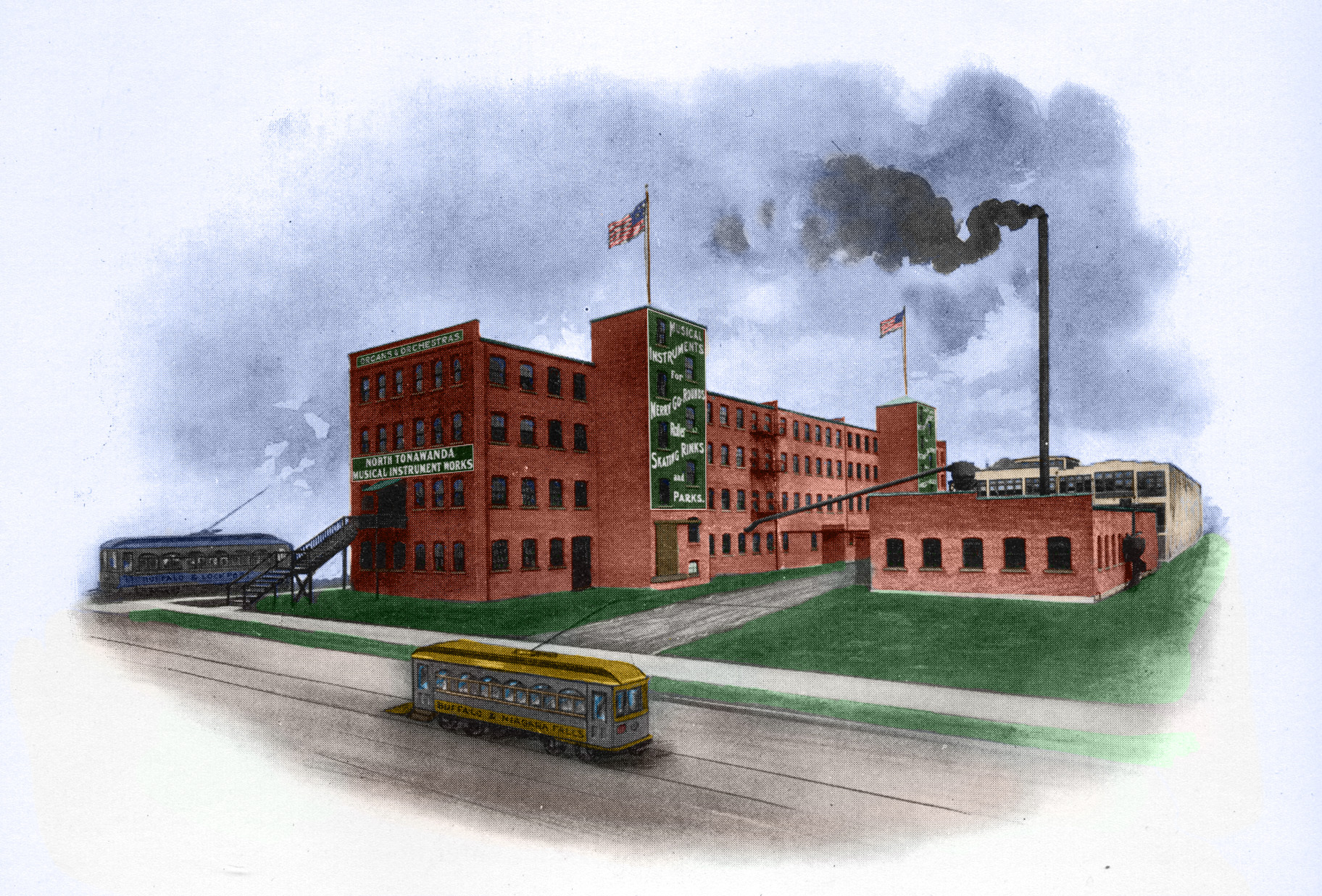 North Tonawanda Musical Instrument Works factory, colorized photo (Automatic Military Bands, c1913).jpg