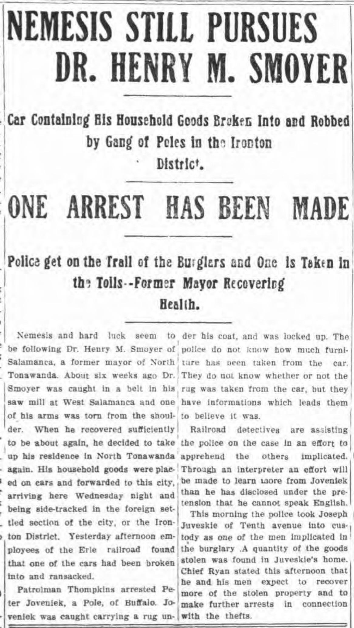 Nemesis Still Pursues Smoyer, Ironton Poles, article (Tonawanda News, 1901-11-01).jpg