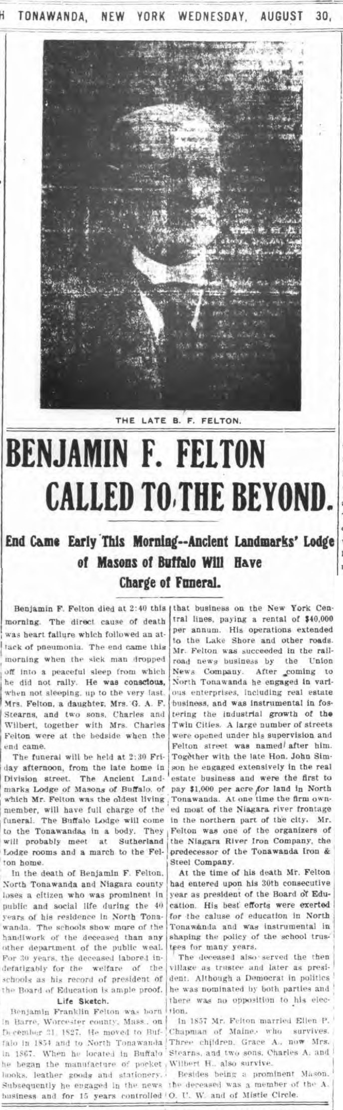 Benjamin F Felton Called to the Beyond, article (Tonawanda News, 1905-08-30).jpg