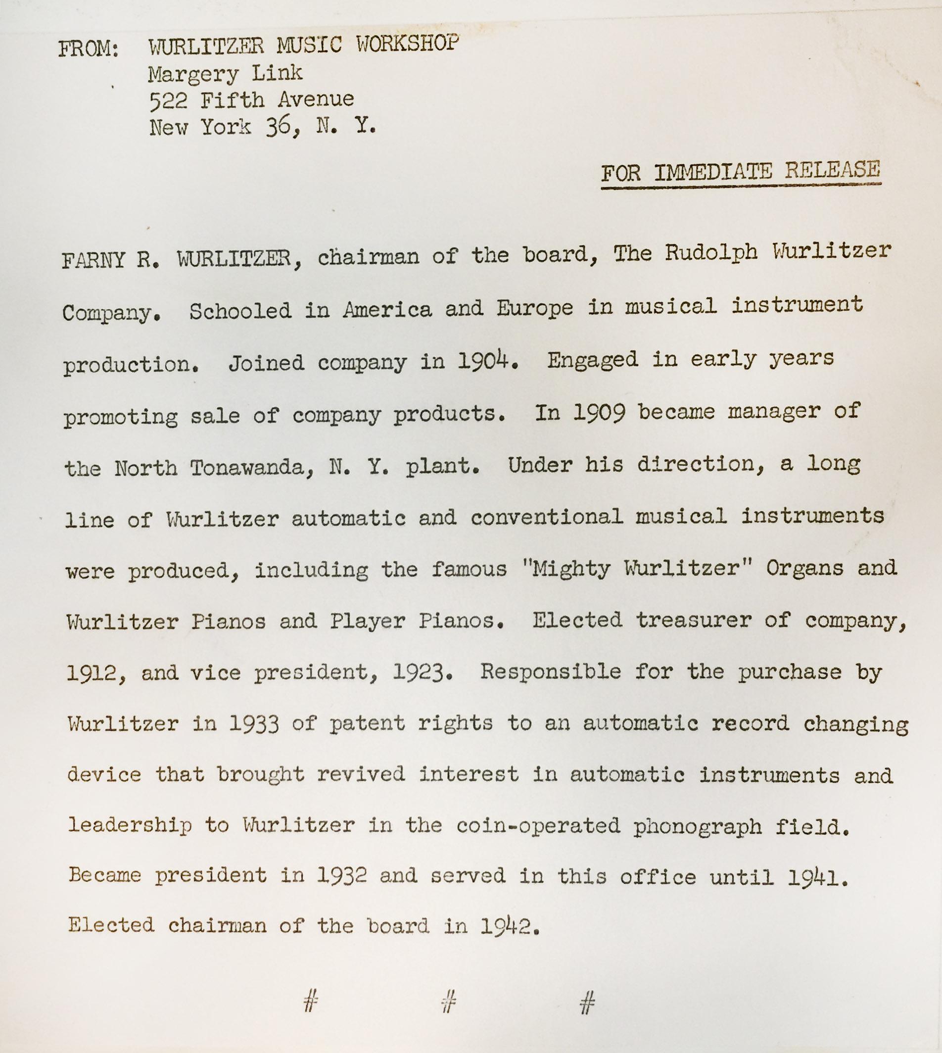 Wurlitzer press release on Farny Wurlitzer (NTPL, 1956).jpg