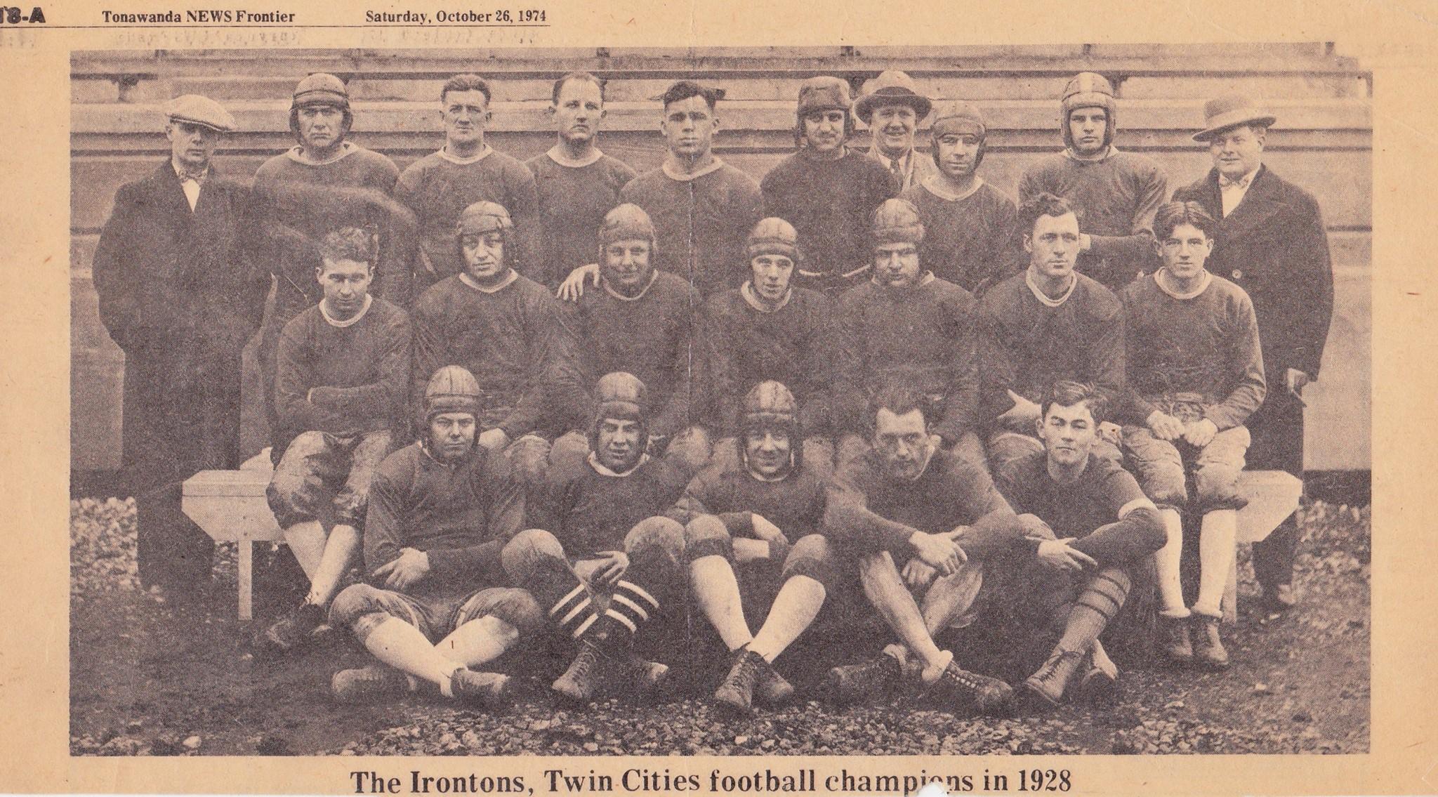 The Irontons, 1928 Twin Cities Champions, newspaper photos (1974, Tonawanda News, Olszowka).jpg