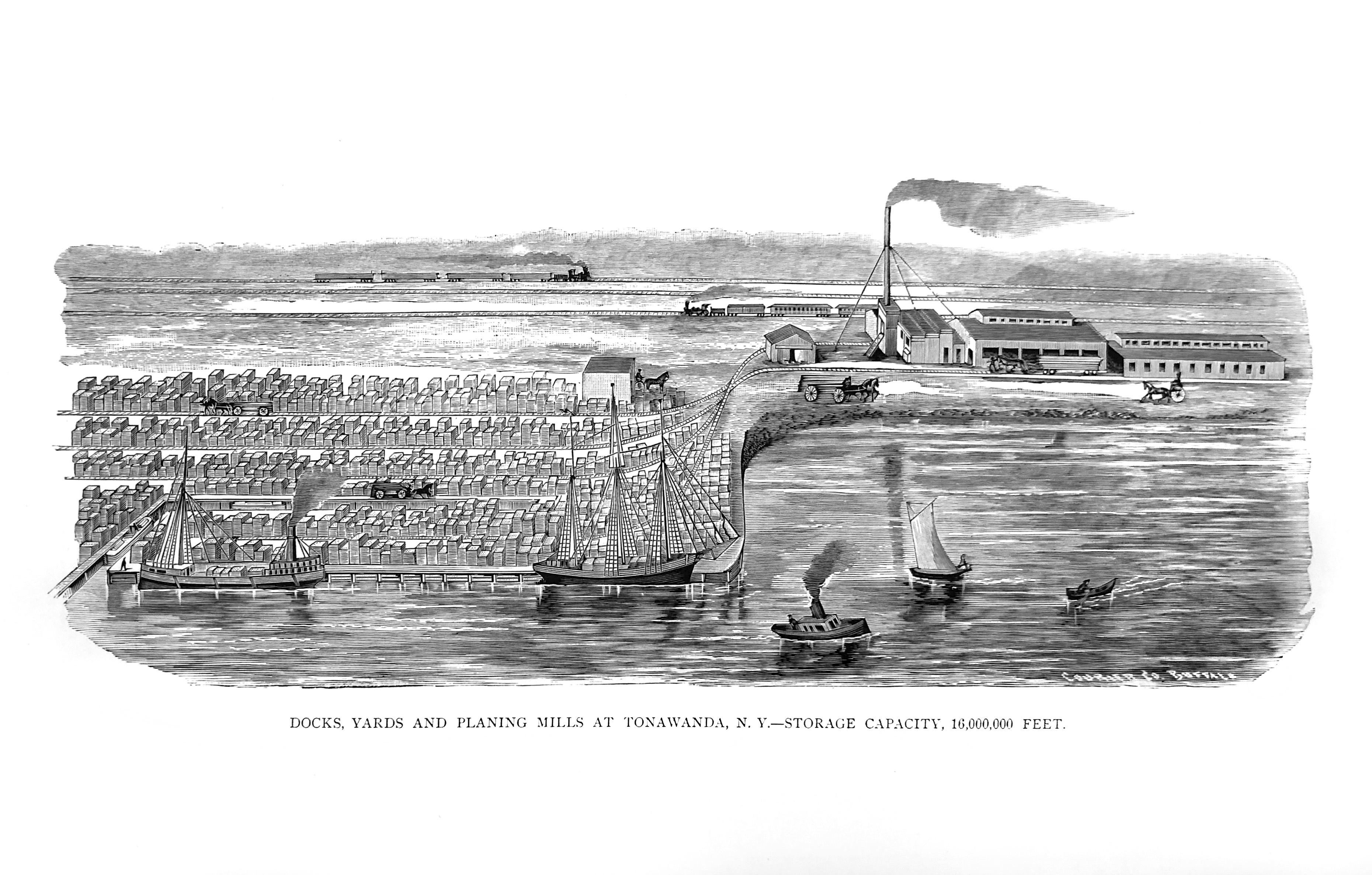 Gratwick docks, yards and planing mills at Tonawanda, illustration (1880).jpg