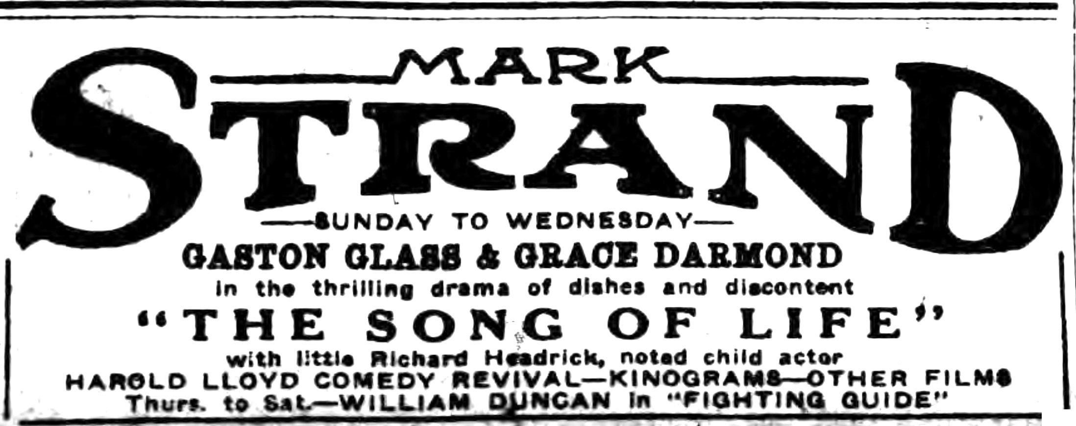 Mark Strand Theatre, ad, logotype (Buffalo Courier, 1922-11-12).jpg
