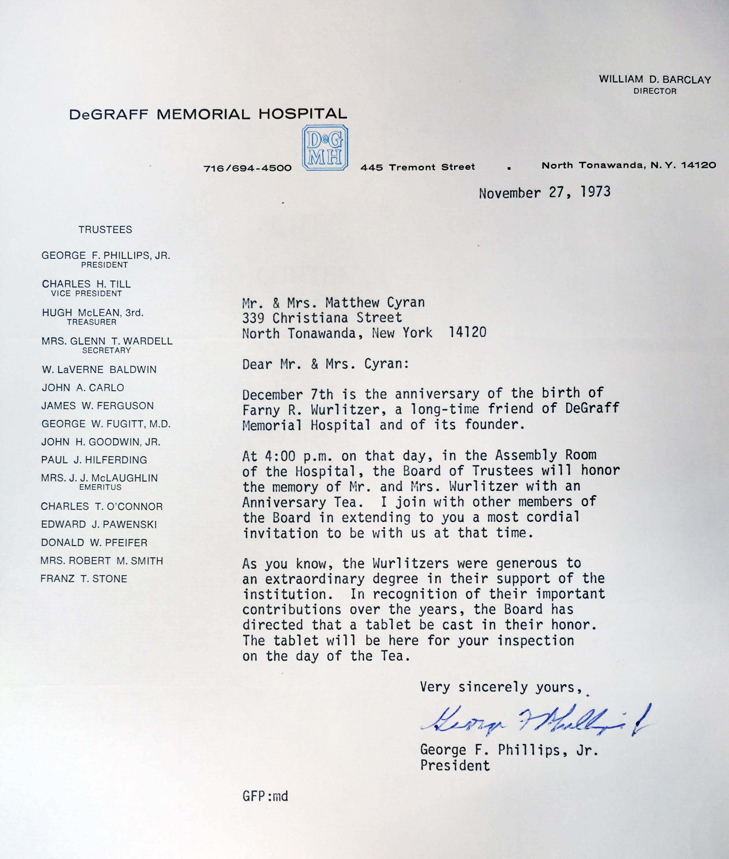 Invitation to anniversary tea in memory of Farny Wurlitzer at DeGraff Hospital, letter (1973-11-27).jpg