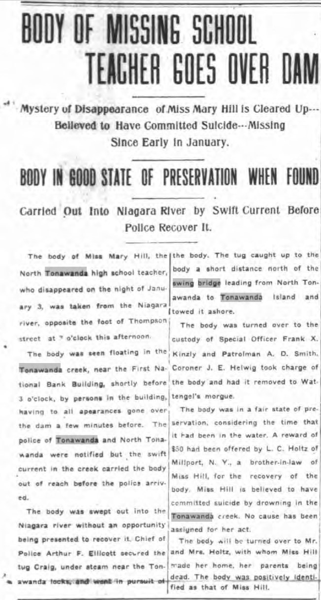 Body of Missing School Teacher Goes Over Dam, article (Tonawanda News, 1916-03-29).jpg