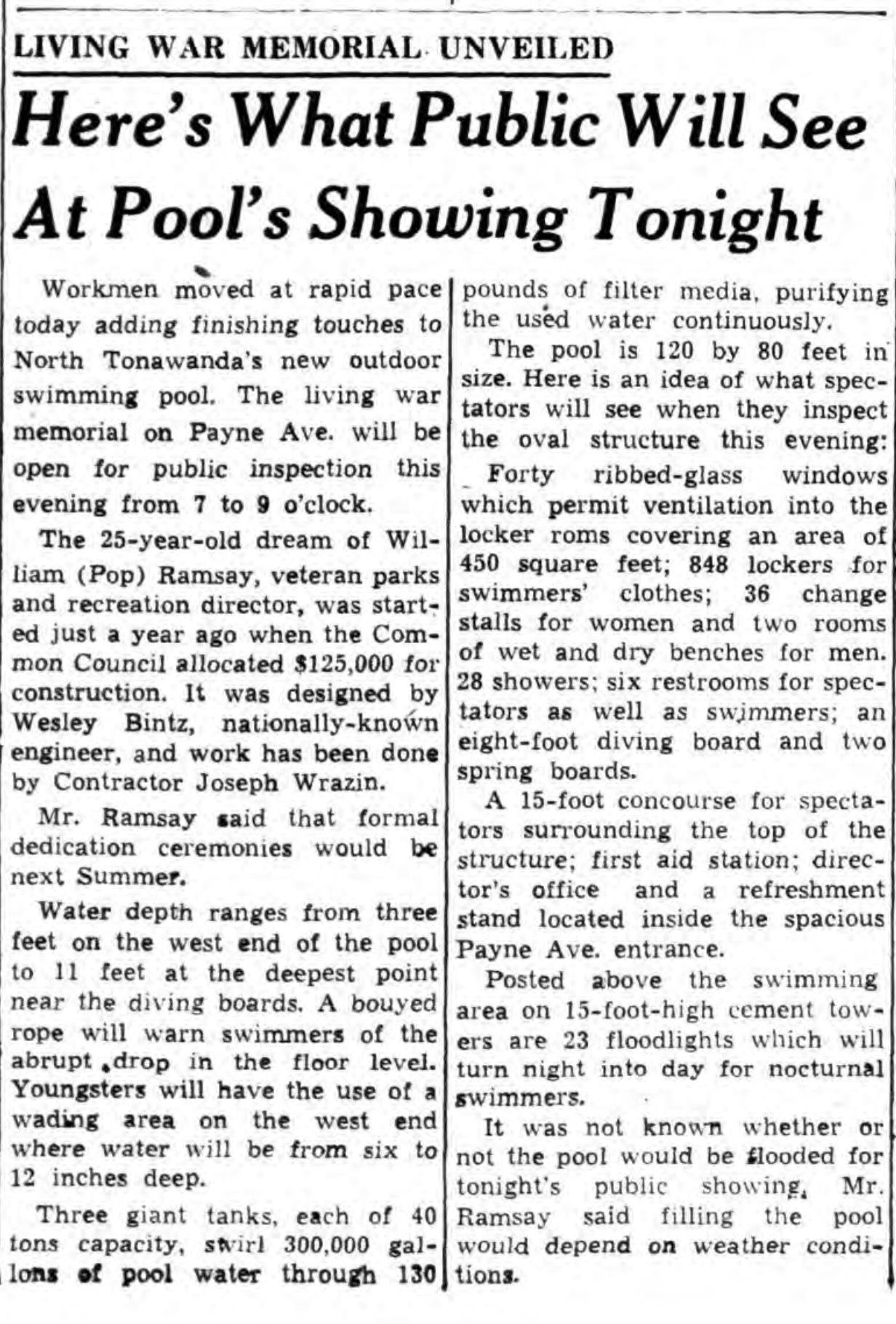 Living war memorial unveiled, Memorial Pool, article (Tonawanda News, 1947-12-02).jpg
