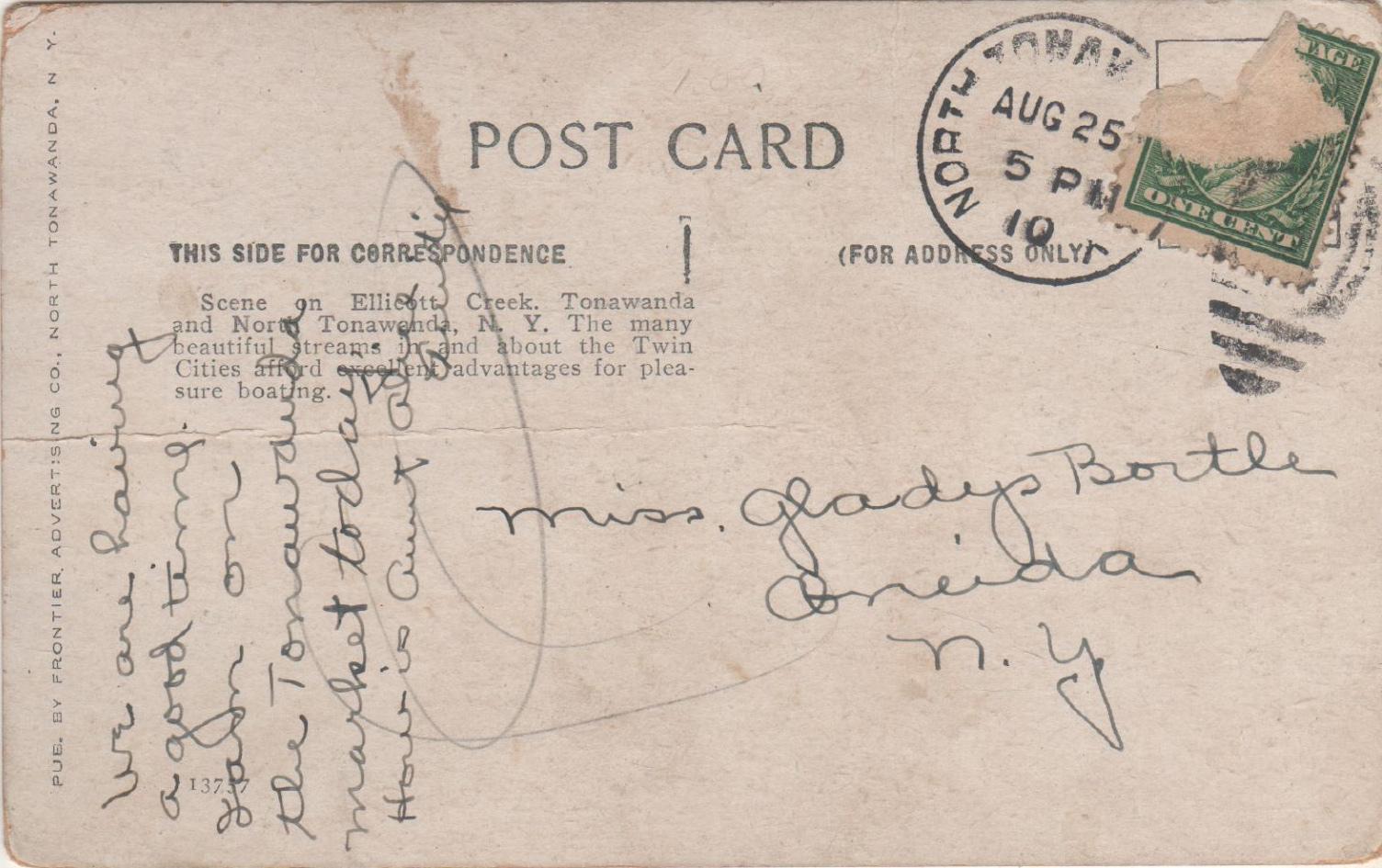 Ellicott Creek, Tonawanda, postcard, reverse (1910).jpg