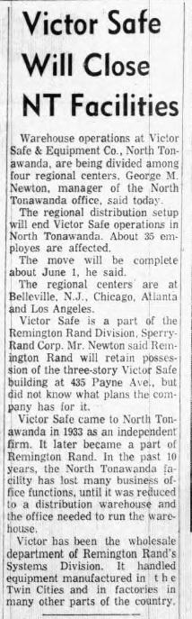 Victor Safe Will Close NT Facilities, article (Tonawanda News, 1961-03-24).jpg