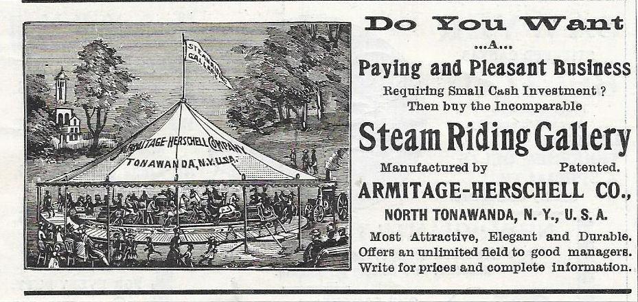 Armitage Herschelll Steam Riding Gallery, illustrated ad (1897).jpg