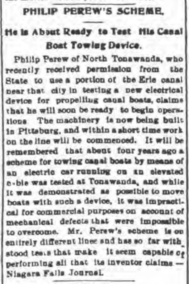 Philip Perew's scheme, article (Tonawanda News, 1900-02-02).jpg