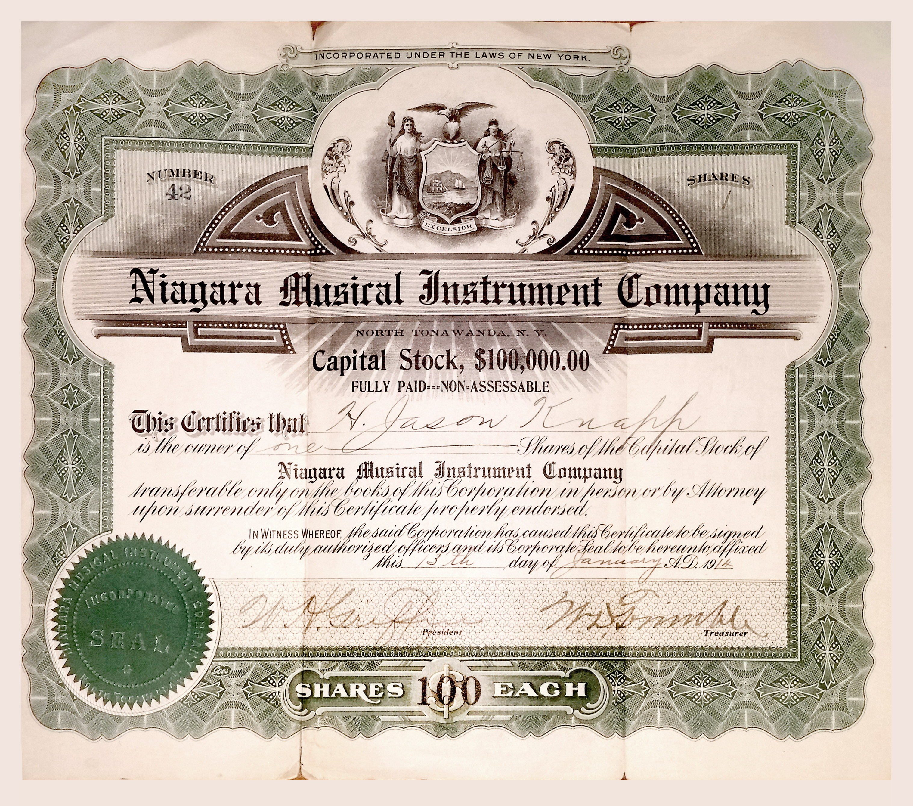 Niagara Musical instrument Works, 100 shares (1914-01-13).jpg