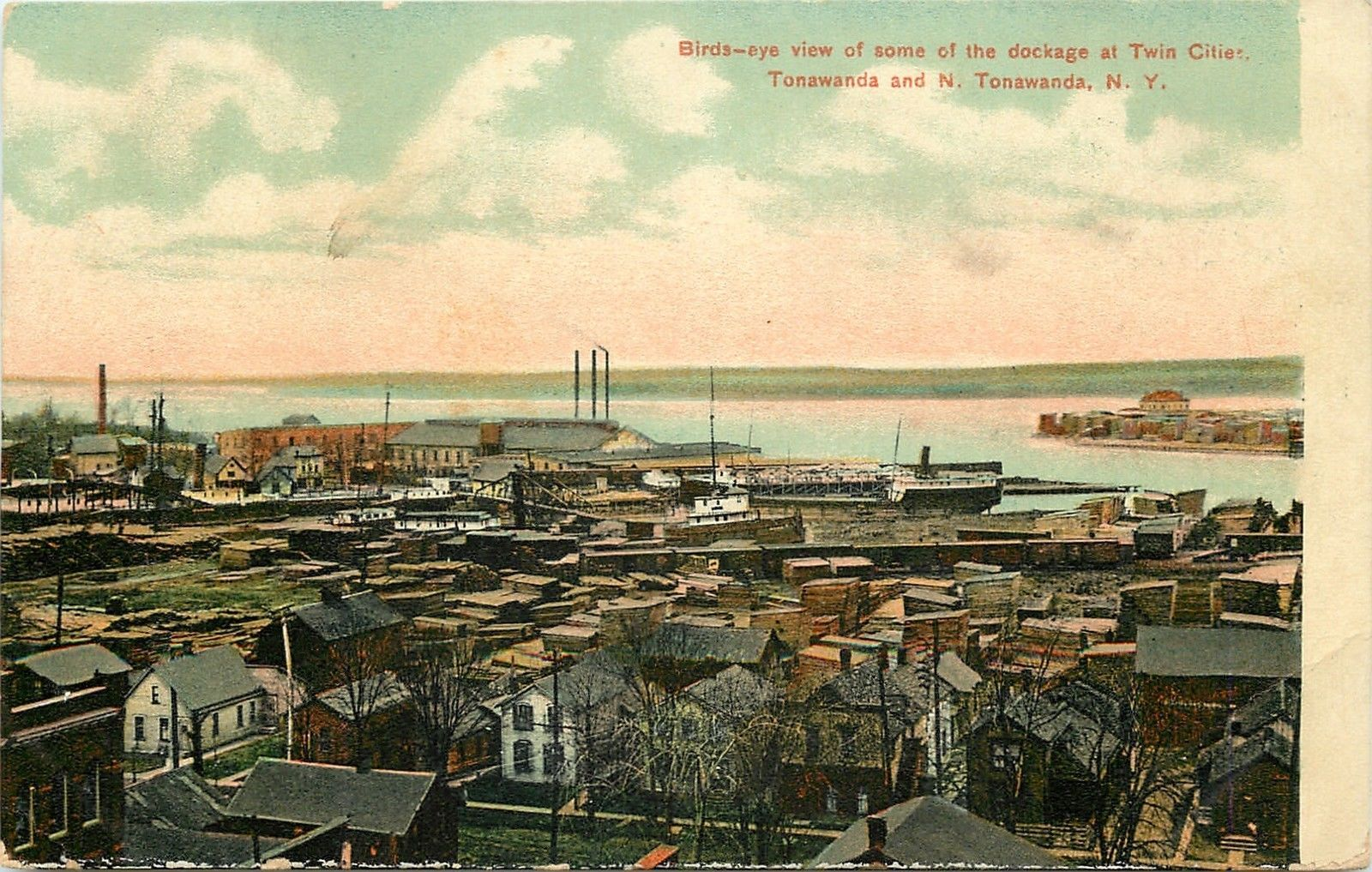 Birds-Eye view of some of the dockage, illustrated postcard (1908).jpg