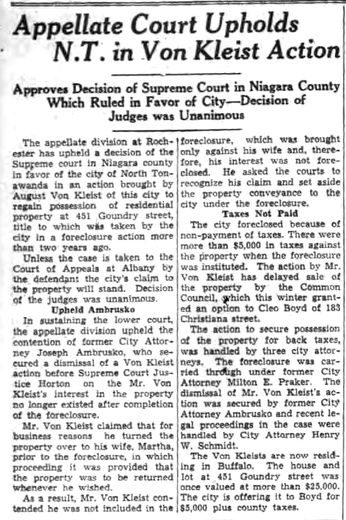 Appellate Court Upholds in NT in Von Kleist Action, article (Tonawanda News, 1936-05-15).jpg