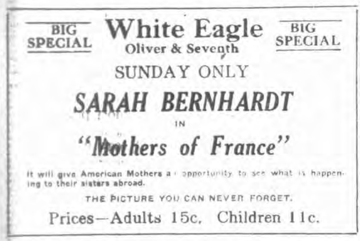 White Eagle at Oliver and 7th, ad (1918-04-27).jpg