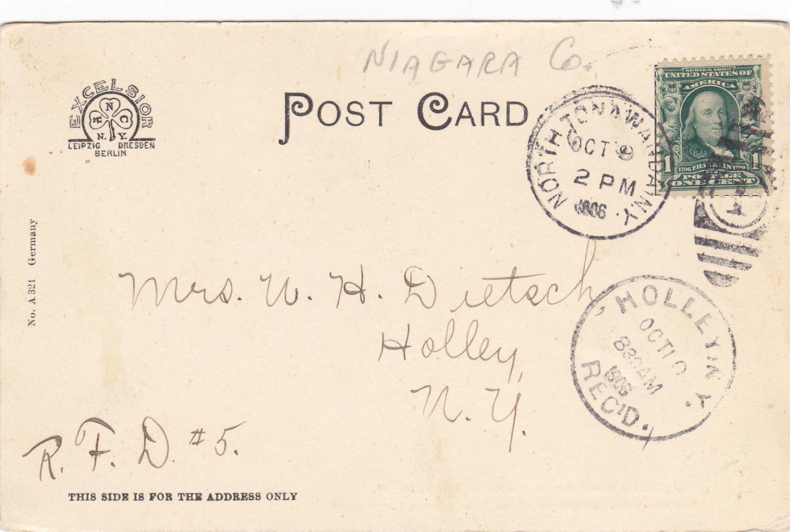 Goundry Street School No.1, photo postcard, reverse (1906).jpg