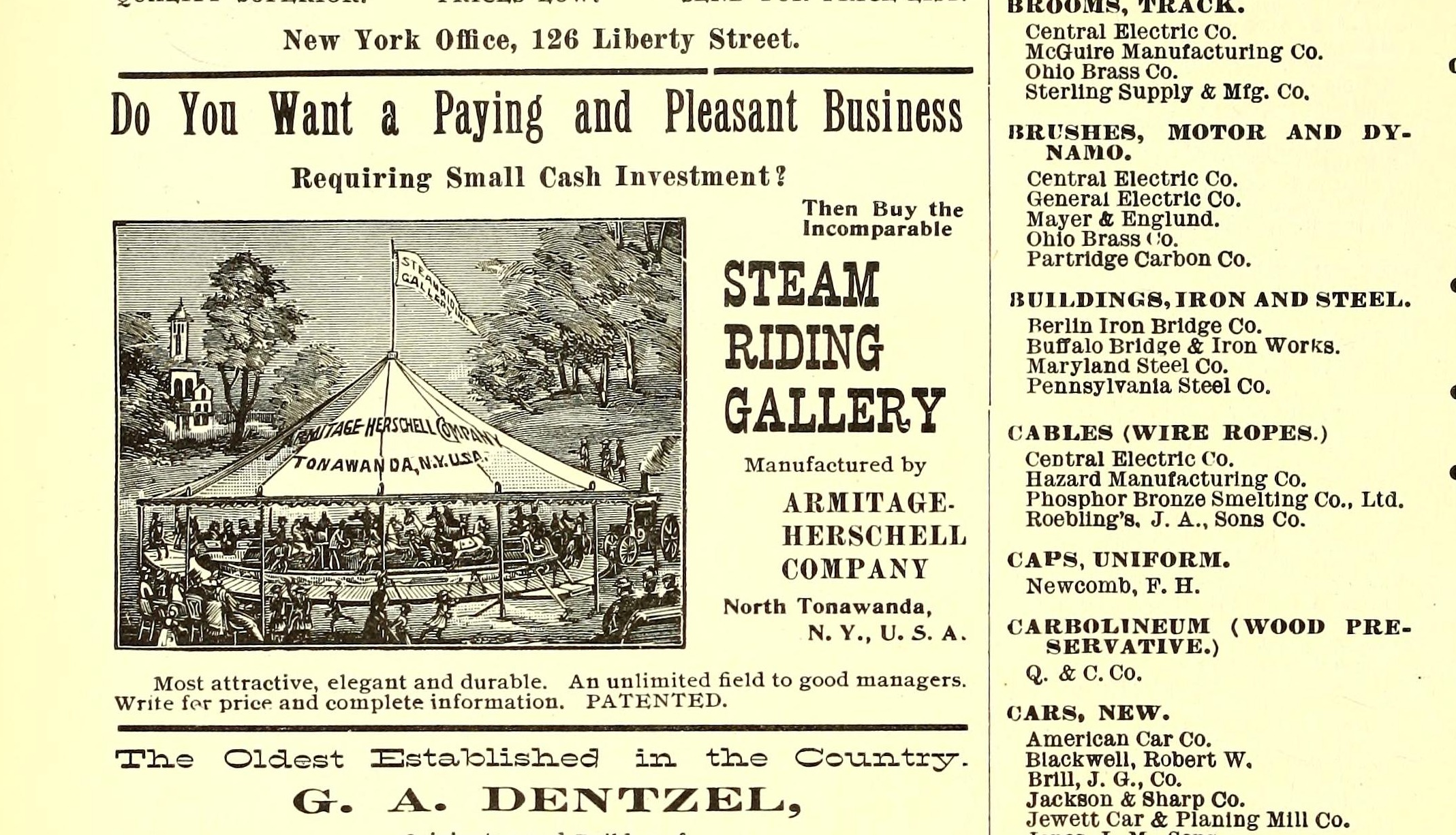Armitage Herschell Steam Riding Gallery, illustrated ad (Street Railway Journal, 1898 PD).png