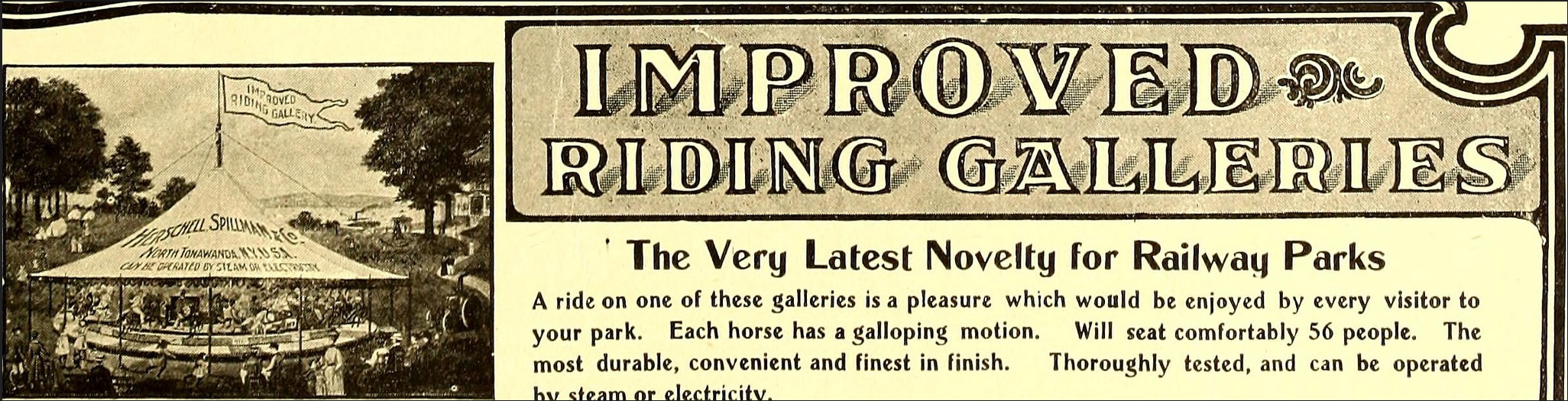 Herschell Spillman Improved Riding Gallery, illustrated ad (Street Railway Journal, 1884 PD).png