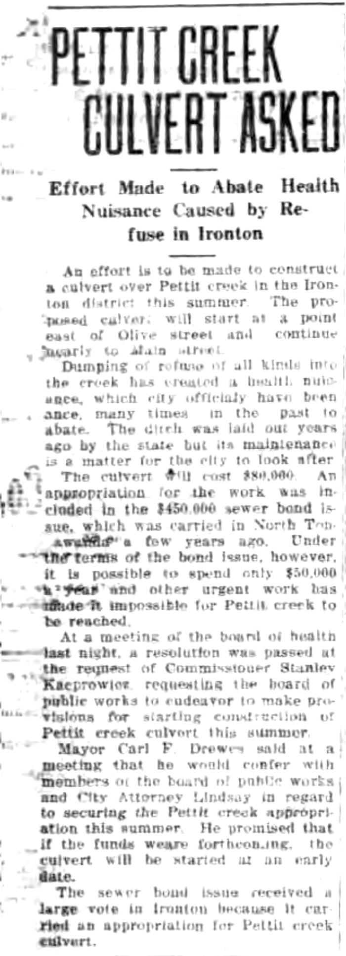 Pettit Creek culvert asked, article (Tonawanda News, c1925).jpg