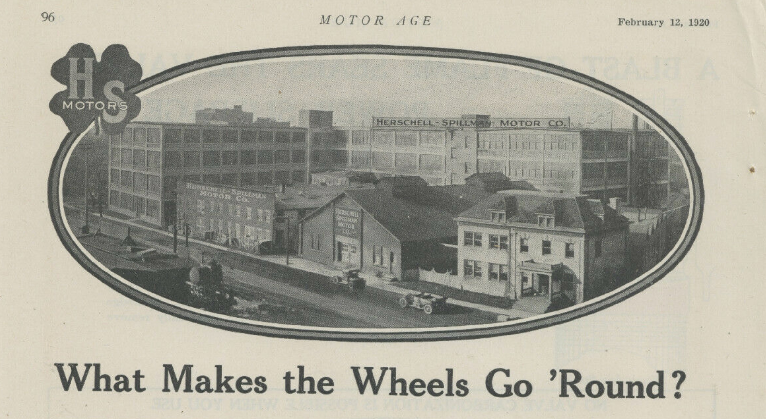 Herschell-Spillman Motors, ad w view of factory and logotype (Motor Age, 1920-02-12.jpg