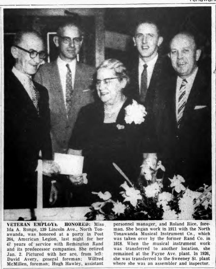 Veteran Employee Honored, Ida A Runge, photo article (Tonawanda News, 1959-01-16).jpg