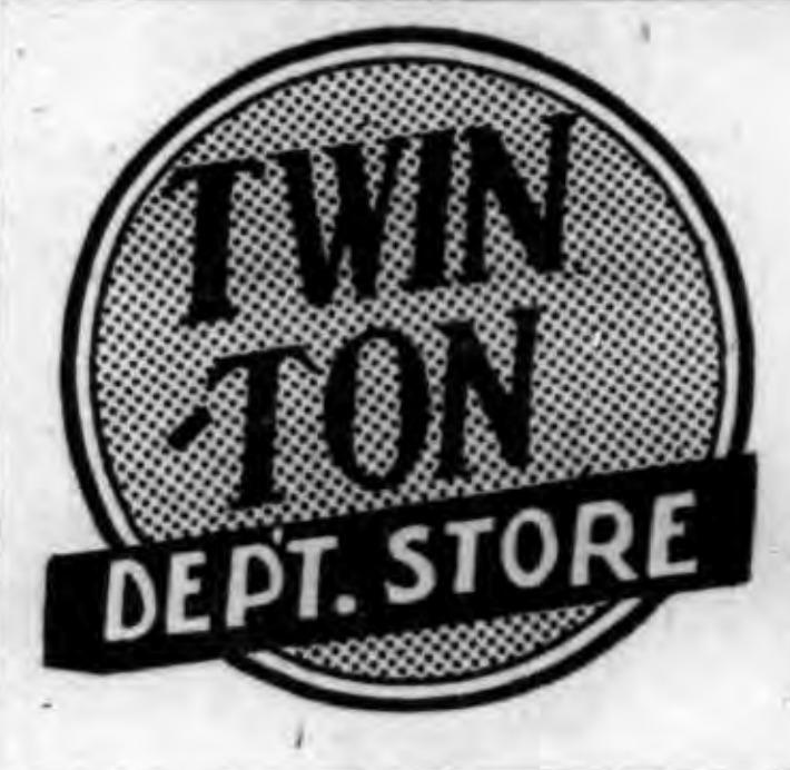 Twin-Ton Dept Store logotype, ad (Tonawanda News, 1957).png