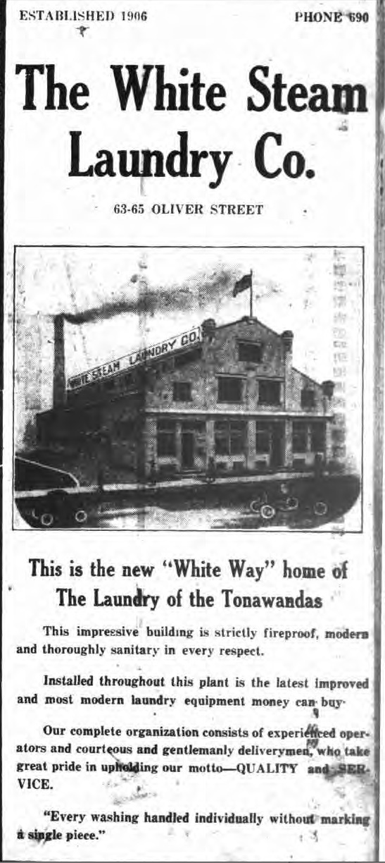 White Steam Laundry, 63-65 Oliver, illustrated ad (Tonawanda News, 1923).jpg
