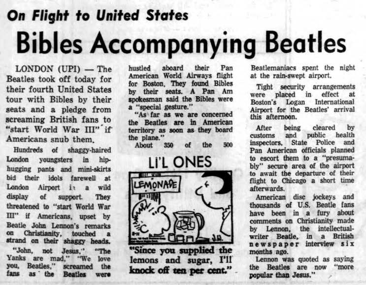Bibles accompanying Beatles, article (Tonawanda News 1966-08-11).jpg