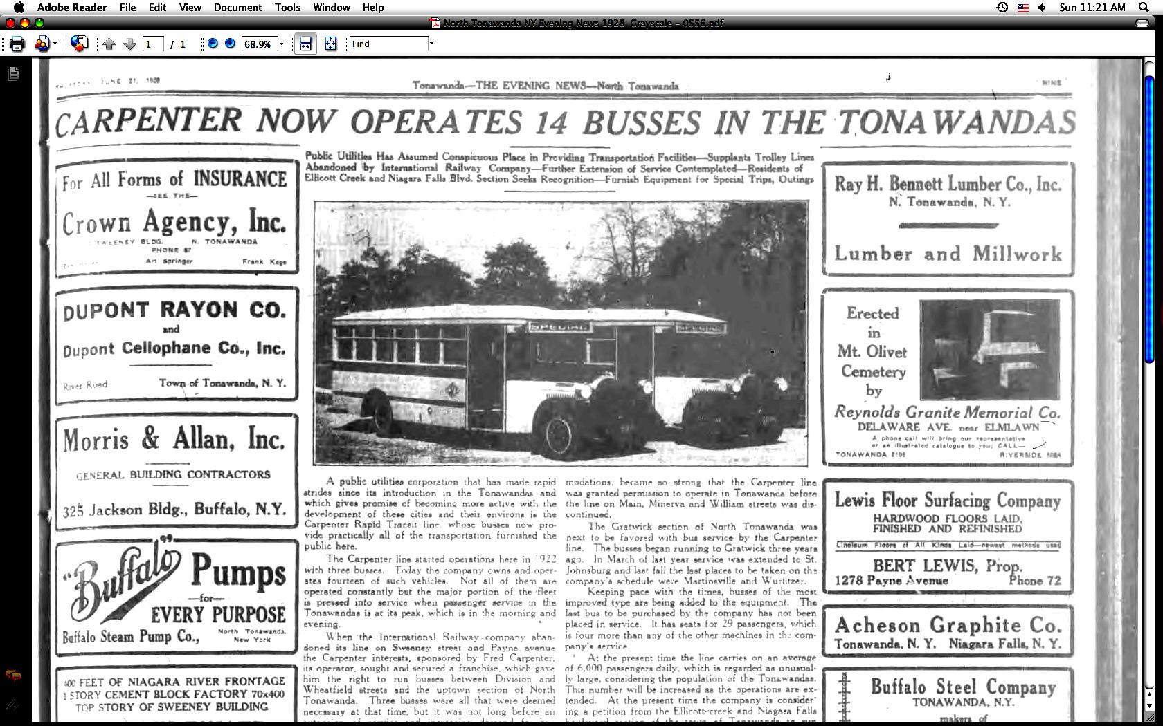 Carpenter now operates 14 busses in the Tonawandas, trolleys fade, article photo (Tonawanda News, 1928-06-21).jpg