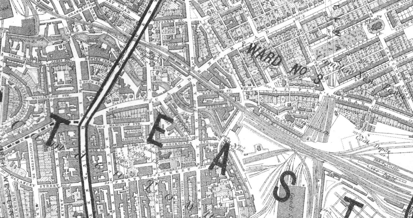 Limonaire Bros. area, Great College Street, St. Pancras Parish, map (1885).jpg