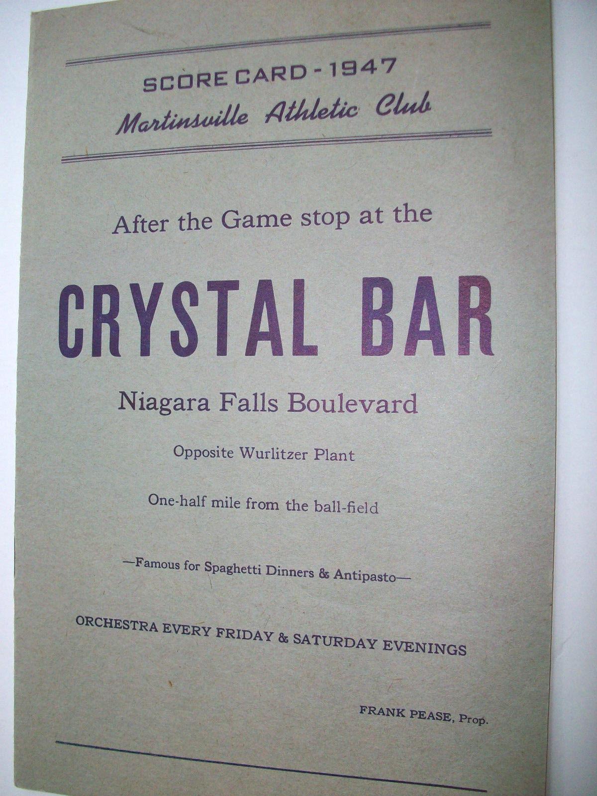 Martinsville Athletic Club, Crystal Bar, scorecard (1947).jpg