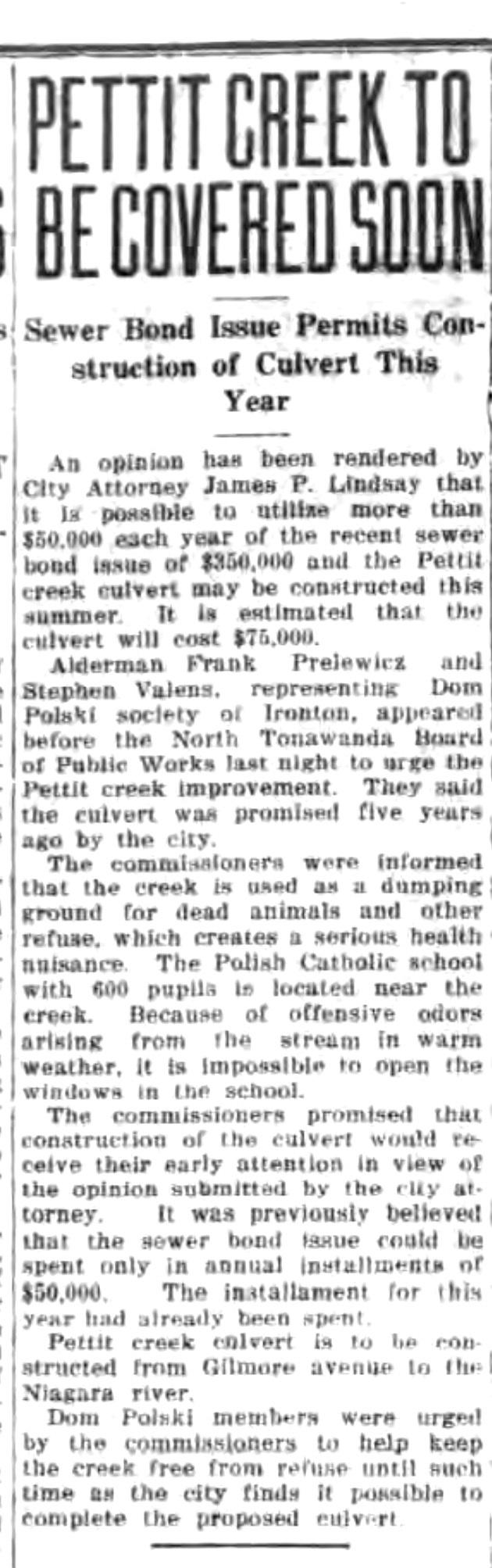 Pettit Creek to be covered soon, article (Tonawanda News, 1925-02-24).jpg