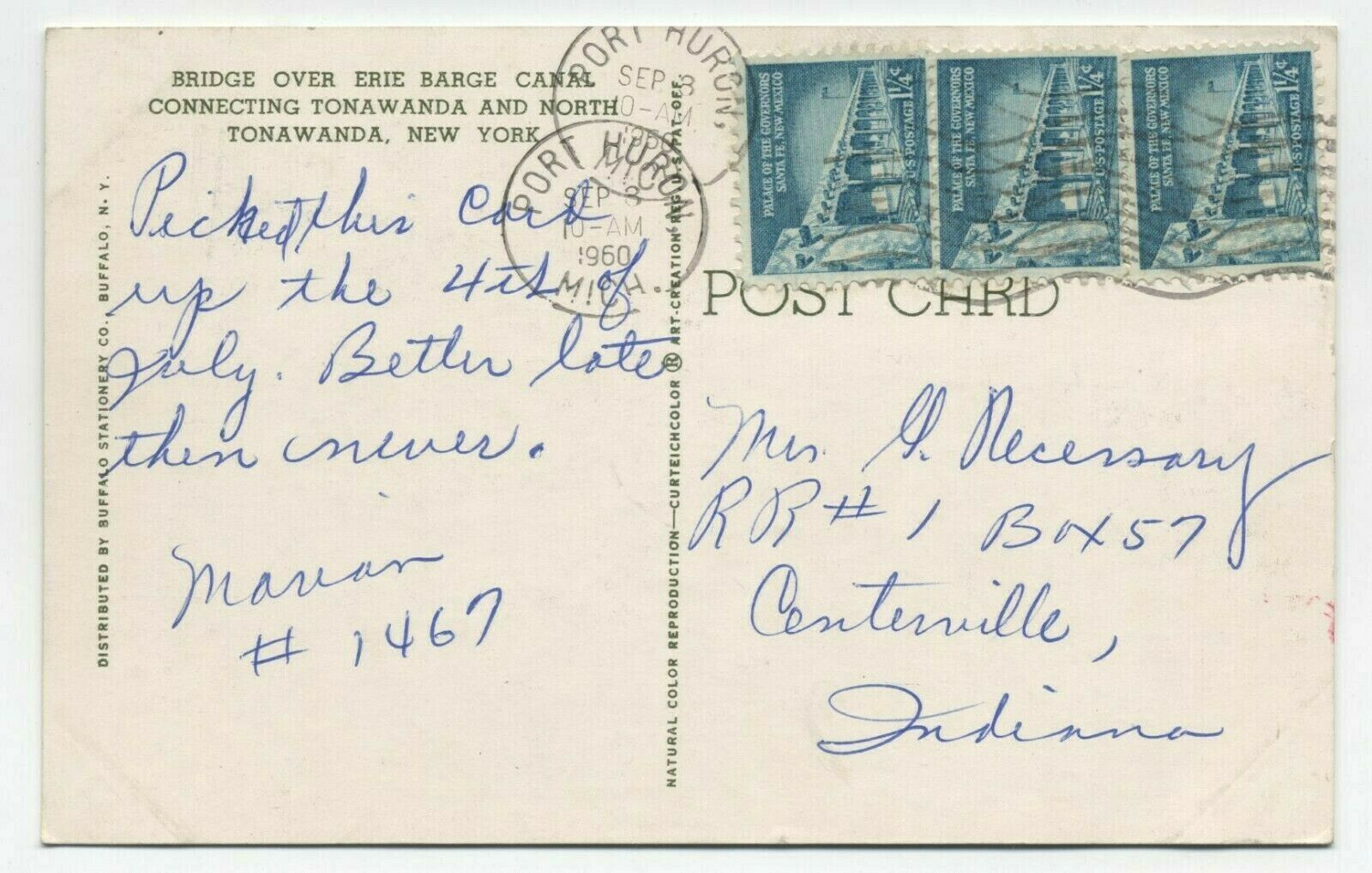 Bridge over Erie barge Canal connecting, postcard (1960) back.jpg