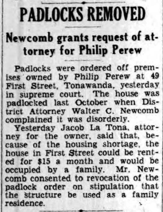 Padlocks removed from 49 1st, article (Buffalo Courier Express, 1937-05-01).jpg