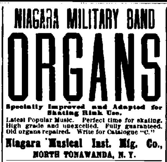 Niagara Military Band Organs, ad (New York Clipper, c1907).jpg