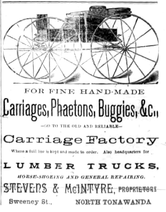 Stevens and McIntyre Carriage Factory, Sweeney Street, ad (Tonawanda News, 1893).jpg