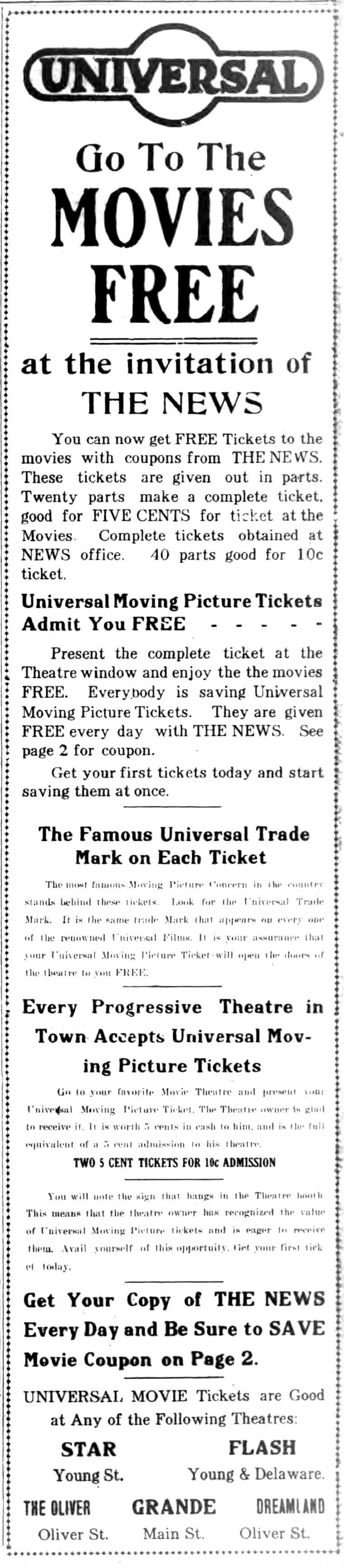 Go to the movies free, ad for STar, Flash, Oliver, Grand, Dreamland (Ton News, 1916-04-05).jpg