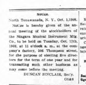 Niagara Musical Instrument Mfg. Co. stockholder meeting notice (Tonawanda News, 1908-10-08).jpg