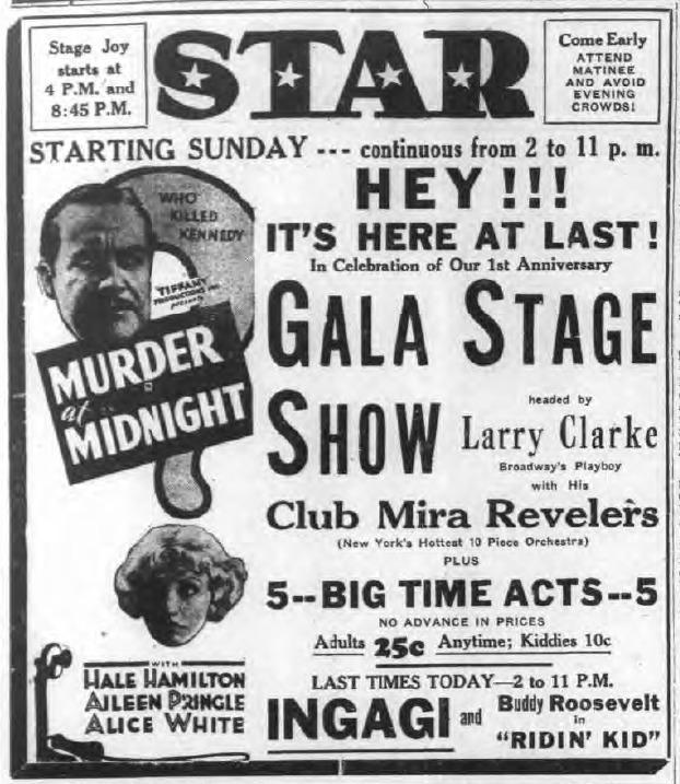 Star Theatre, 1st anniversary celebration, ad (Tonawanda News 1931-11-14).png
