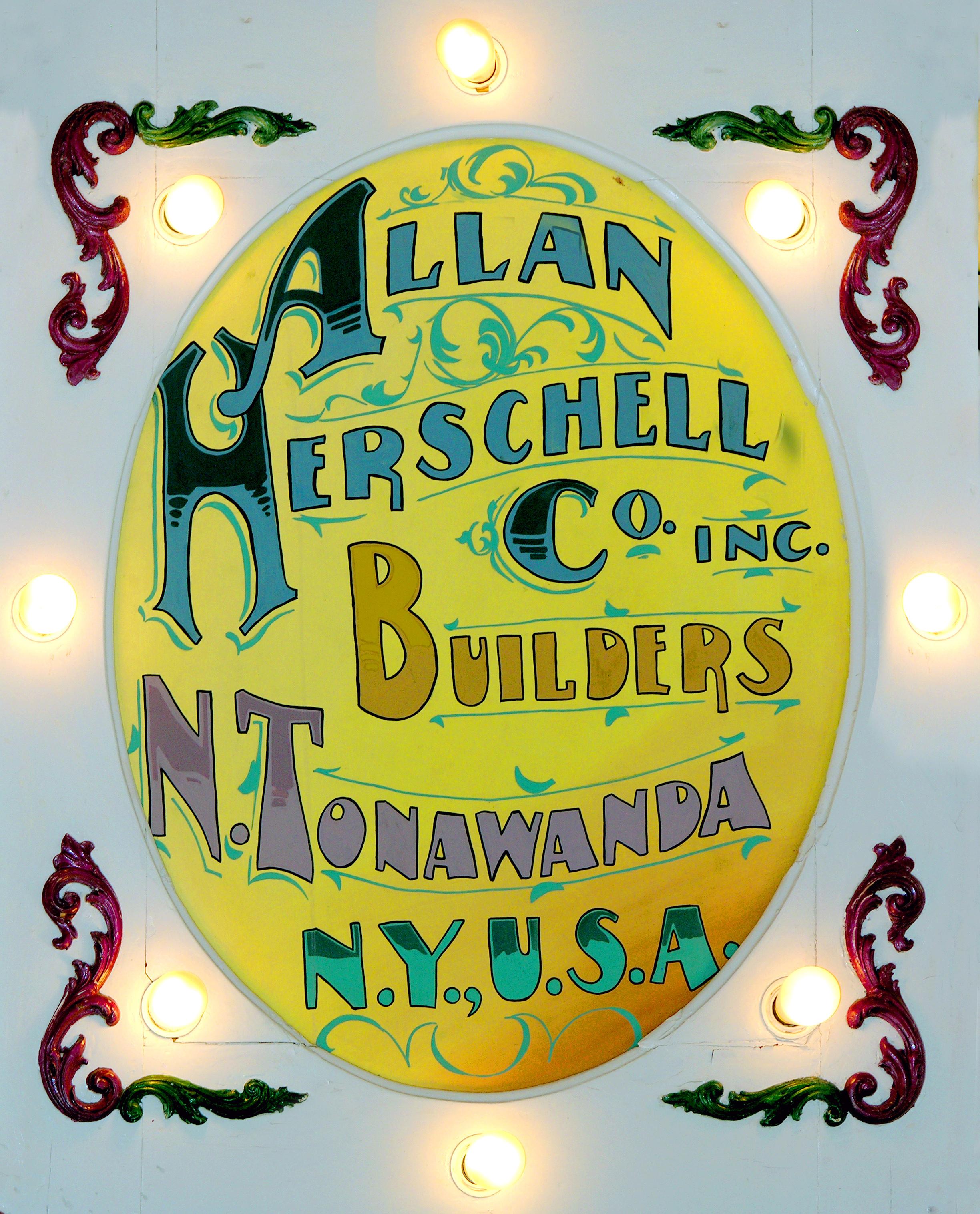 Allan Herschell painted sign on carousel at Herschell Carrousel Factory Museum, photo.jpg