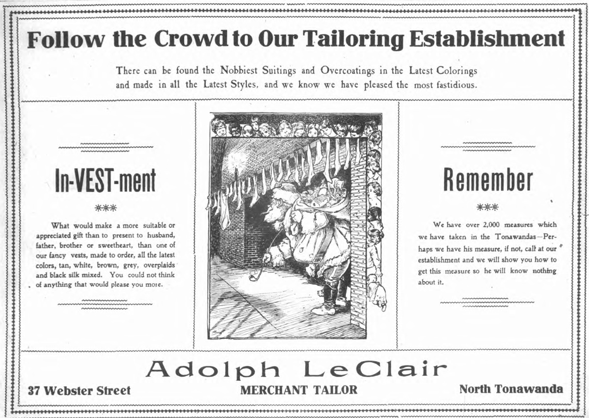 Adolph LeClair, Merchant Tailor, 37 Webster, ad (Tonawanda News, 1905-12-20).jpg