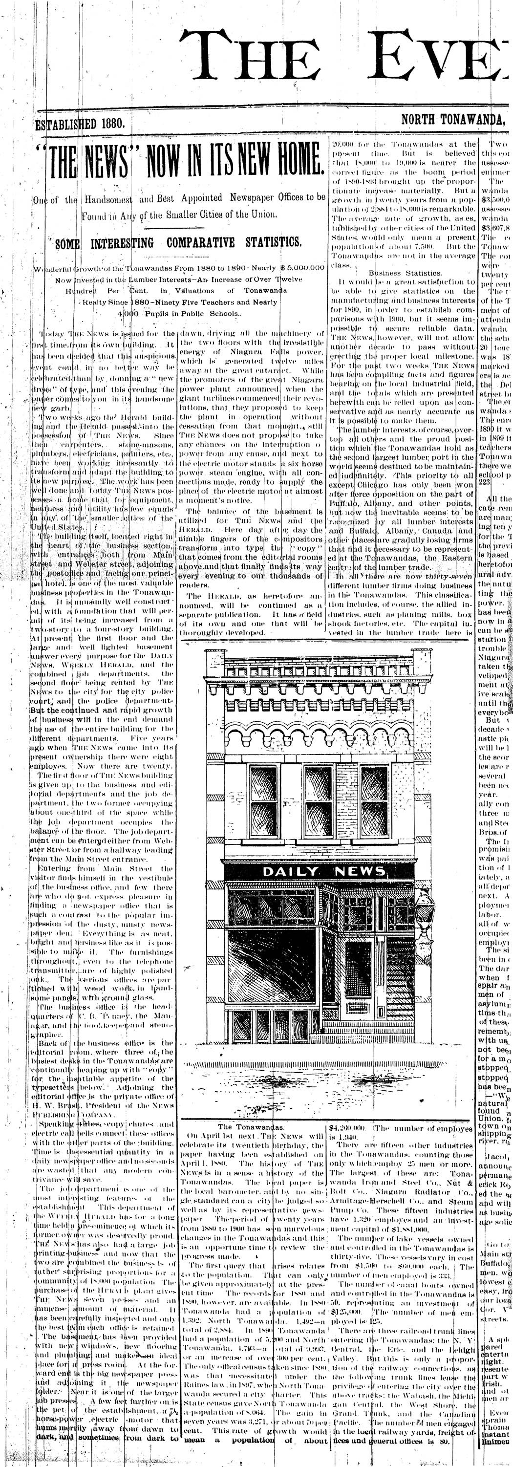 Tonawanda News Moves into Webster Building, article (Tonawanda News, 1900-03-12).jpg