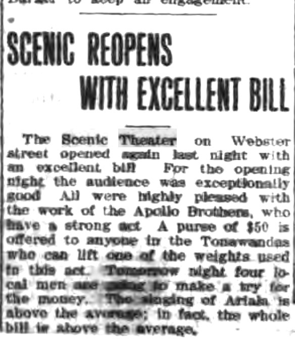 Scenic Theater repoens with excellent bill, article (Tonawanda News, c1910-04-05).jpg