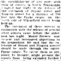 Opposition to stub ends for Bryant and Niagara, Payne Estate, article (Tonawanda News, 1920-05-25).jpg