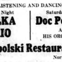 Polka Trio at Topolskis, ad logotype (Tonawanda News, 1950).png